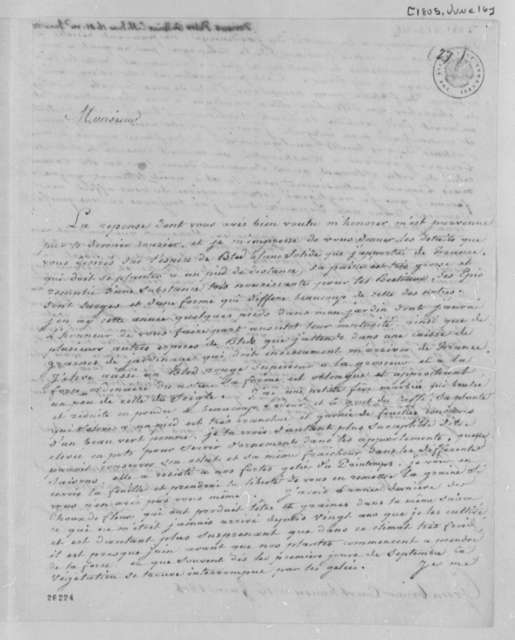 Justin Pierre Plumard Derieux to Thomas Jefferson, June 16, 1805, in French
