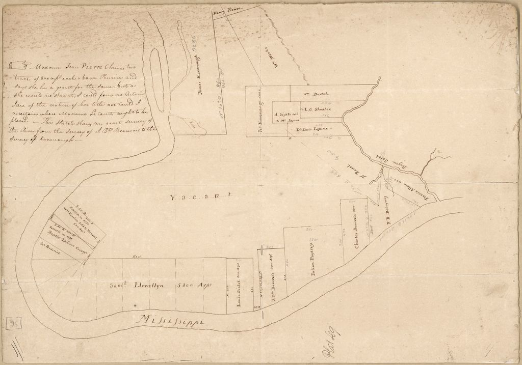 [Map of the area of Feliciana District, Spanish West Florida, from Bayou Sara north to the land of James Kavenaugh, below Tunica Bend].