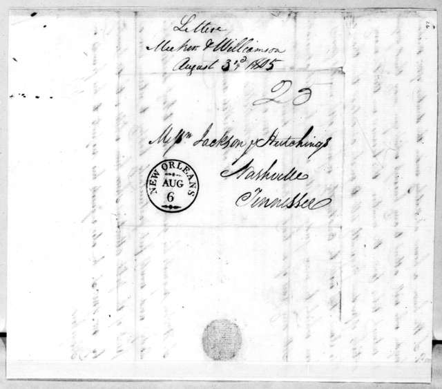 Meeker, Williamson & Patton to Jackson & Hutchings, August 3, 1805