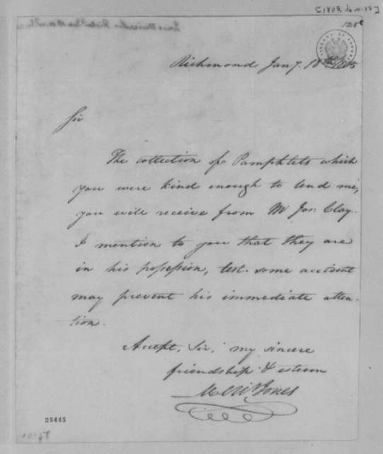 Meriwether Jones to Thomas Jefferson, January 7, 1805