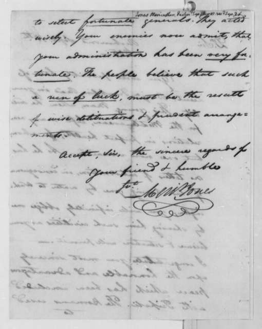 Meriwether Jones to Thomas Jefferson, September 18, 1805