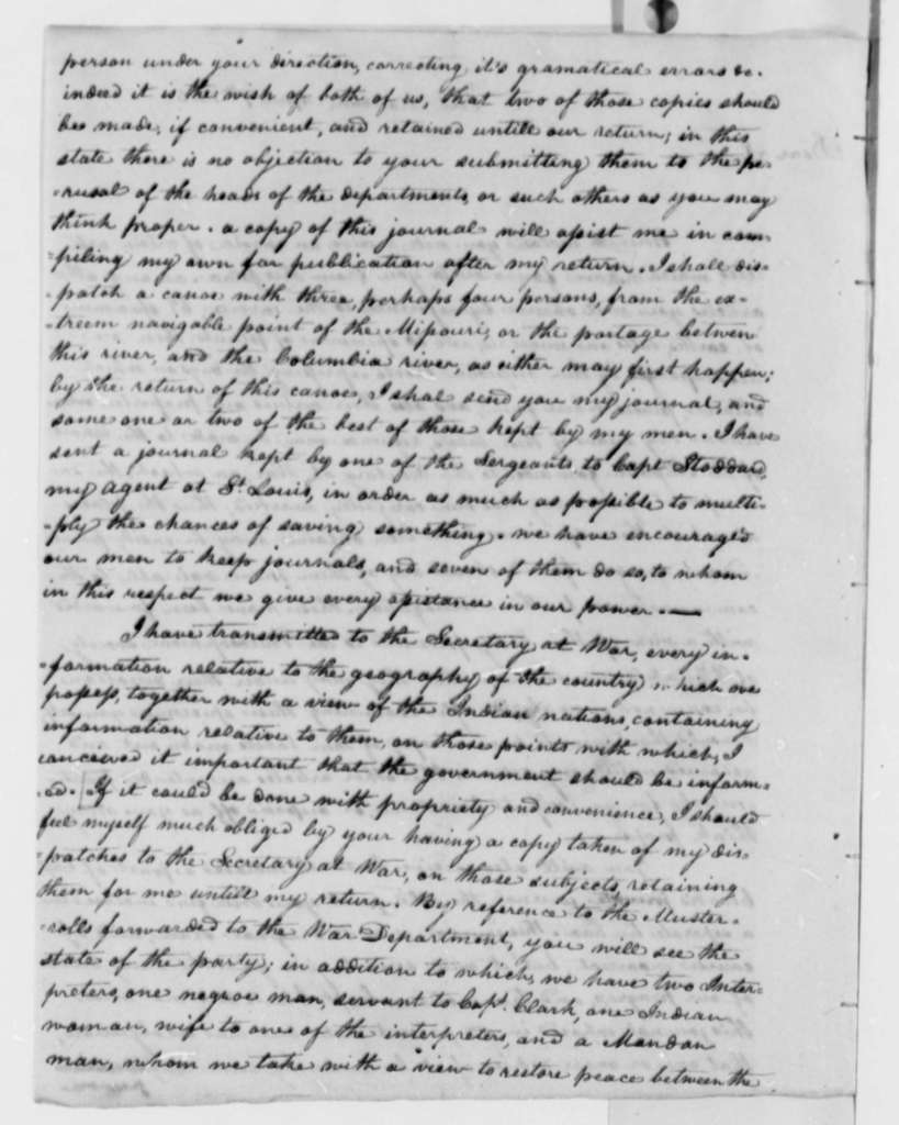 Meriwether Lewis to Thomas Jefferson, April 7, 1805, with Invoice