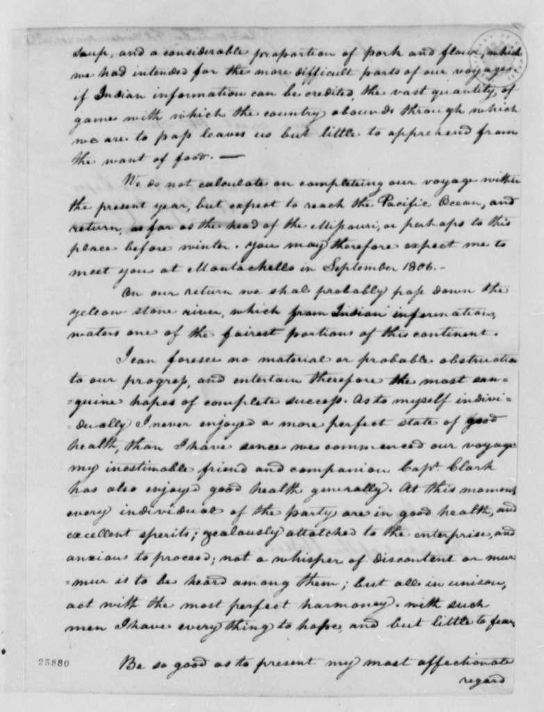 Meriwether Lewis to Thomas Jefferson, April 7, 1805, with Invoice