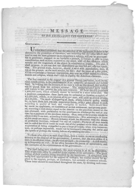 Message of His Excellency the Governor ... 4th February, 1805. [Albany, 1805].