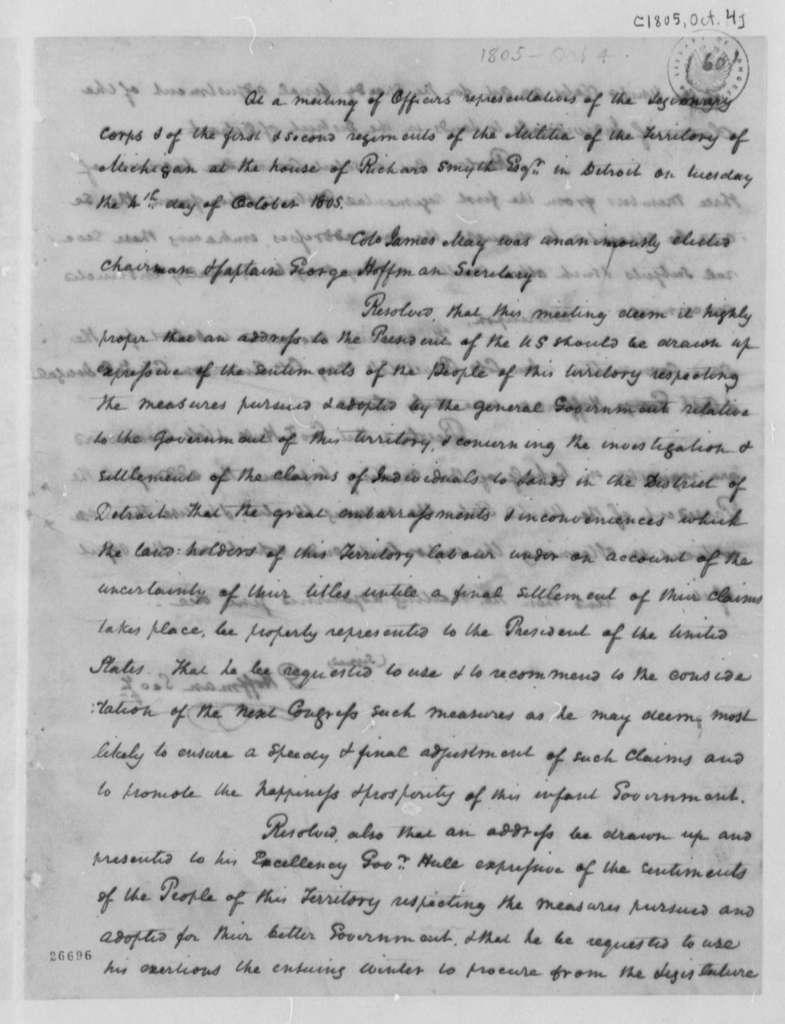 Militia of Michigan Territory, October 4, 1805, with Copy of Resolution on Militia