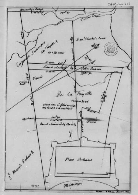 New Orleans, June 23, 1805, Map of Lafayette's Land Holdings