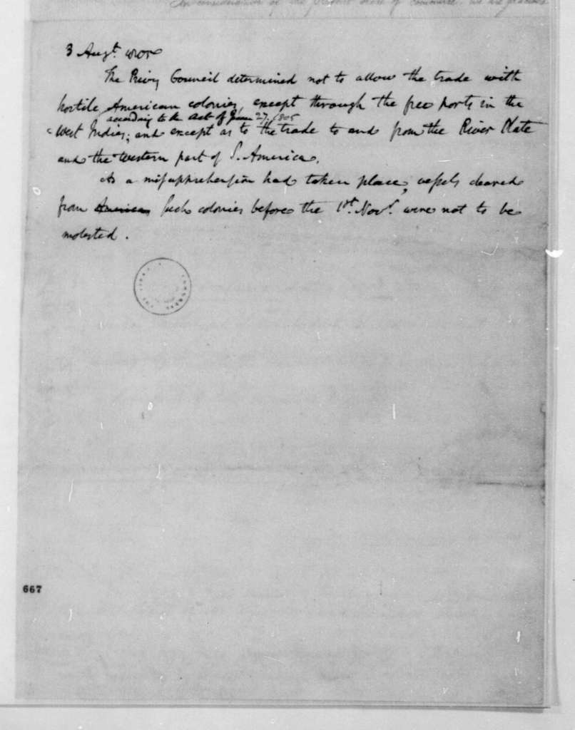 Notes - England - Orders in Council. 1805.