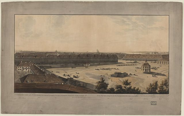 Panoramic view of St. Petersburg, dedicated by permission to his Imperial Majesty Alexander 1st. by his much obliged humble servant J.A. Atkinson / drawn on the spot by J.A. Atkinson, from the observatory of the Academy of Sciences.