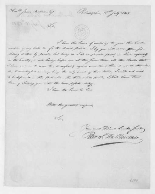 Peter S. Duponceau to James Madison, July 15, 1805.