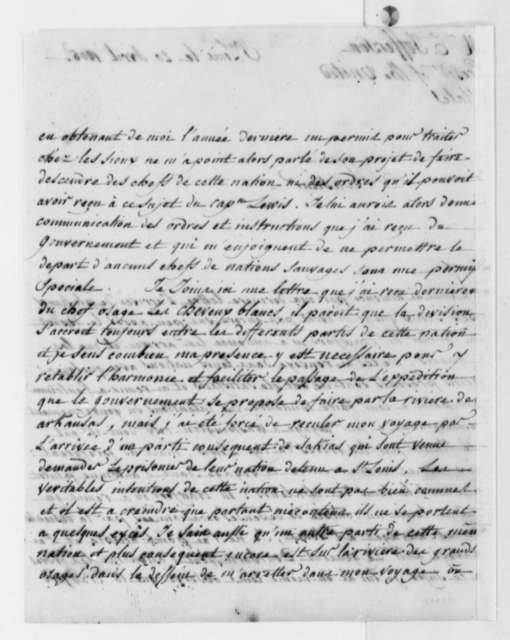 Pierre Chouteau to Thomas Jefferson, April 20, 1805, in French