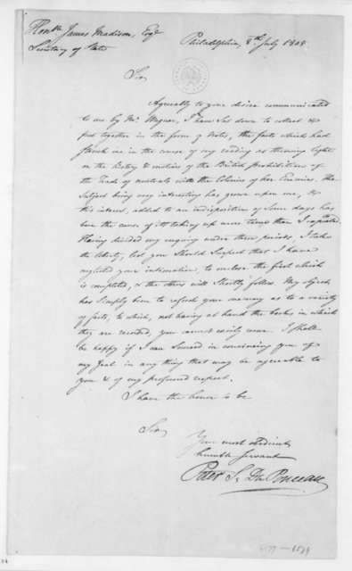 Pierre Etienne Du Ponceau to James Madison, July 8, 1805.