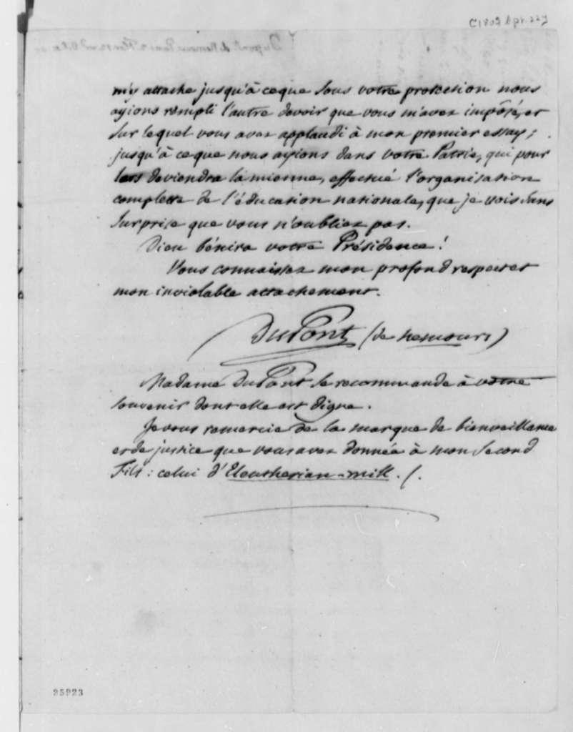 Pierre S. Dupont de Nemours to Thomas Jefferson, April 22, 1805, in French