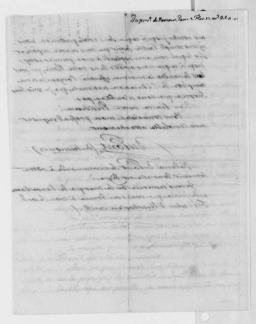 Pierre S. Dupont de Nemours to Thomas Jefferson, April 22, 1805, in French