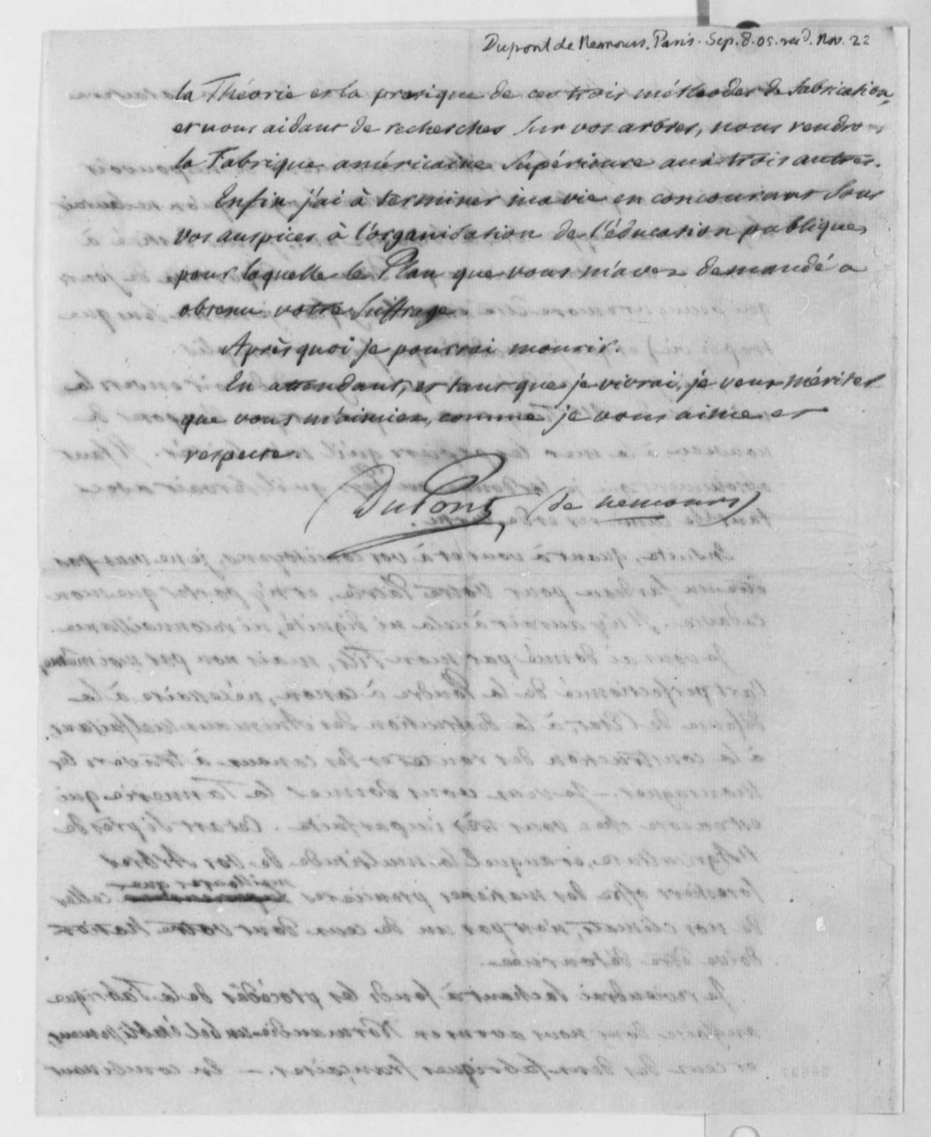 Pierre S. Dupont de Nemours to Thomas Jefferson, September 8, 1805, in French