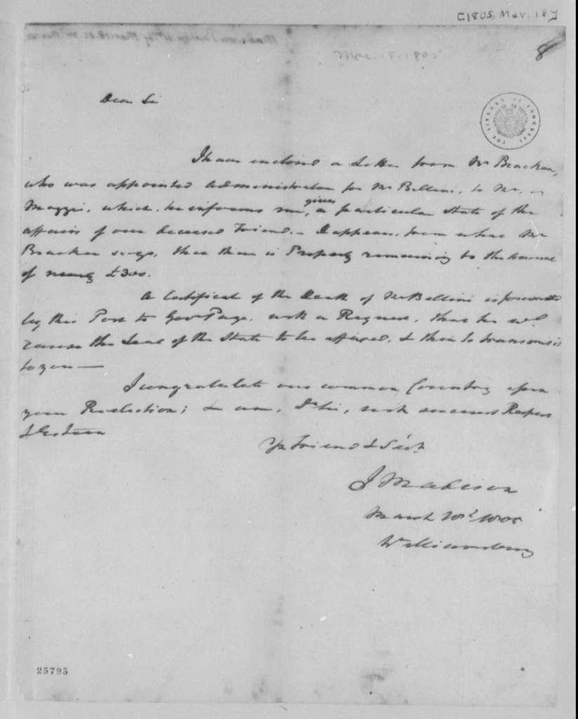 Reverend James Madison to Thomas Jefferson, March 18, 1805