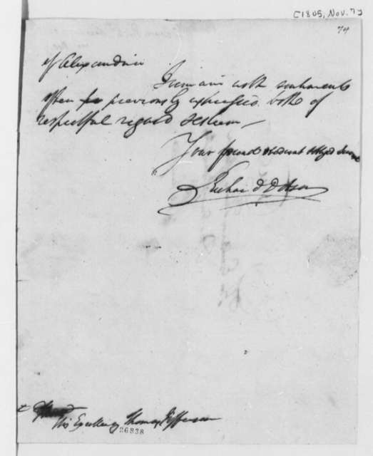 Richard Dobson to Thomas Jefferson, November 7, 1805
