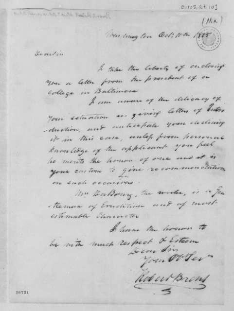Robert Brent to Thomas Jefferson, October 10, 1805