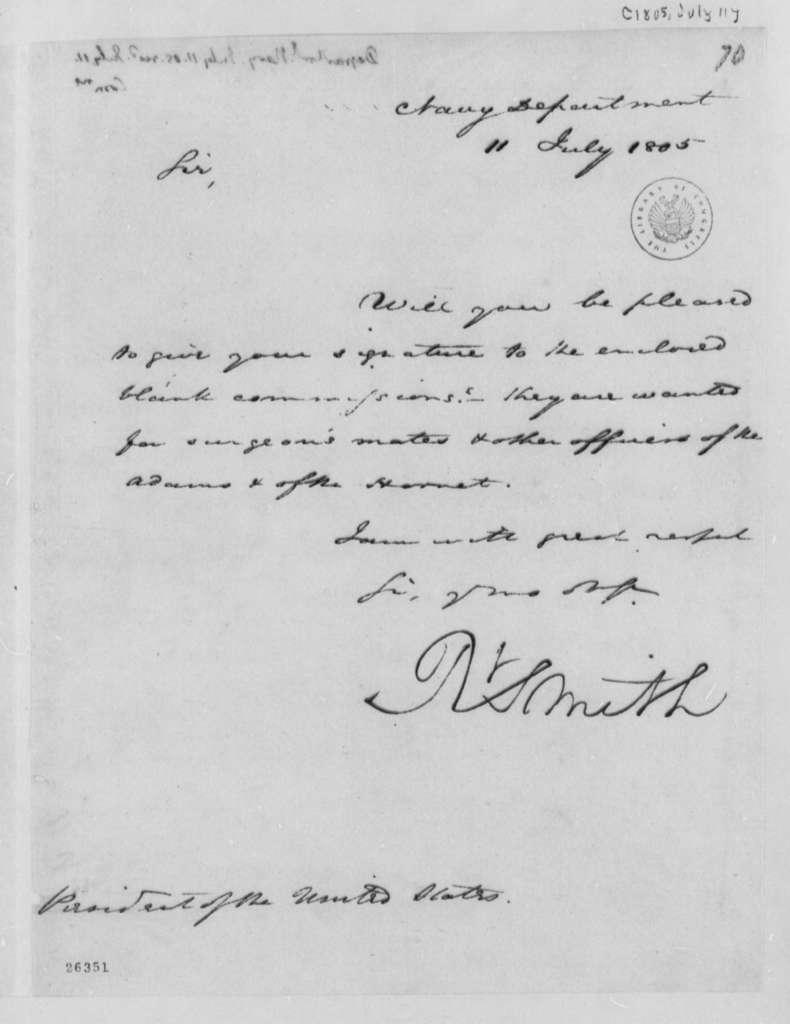 Robert Smith to Thomas Jefferson, July 11, 1805