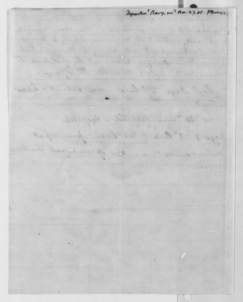 Robert Smith to Thomas Jefferson, November 27, 1805, Notes