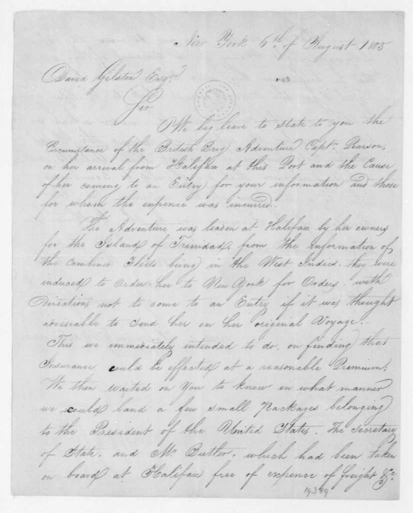Robinson & Hartshorne to David Gelston, August 6, 1805.