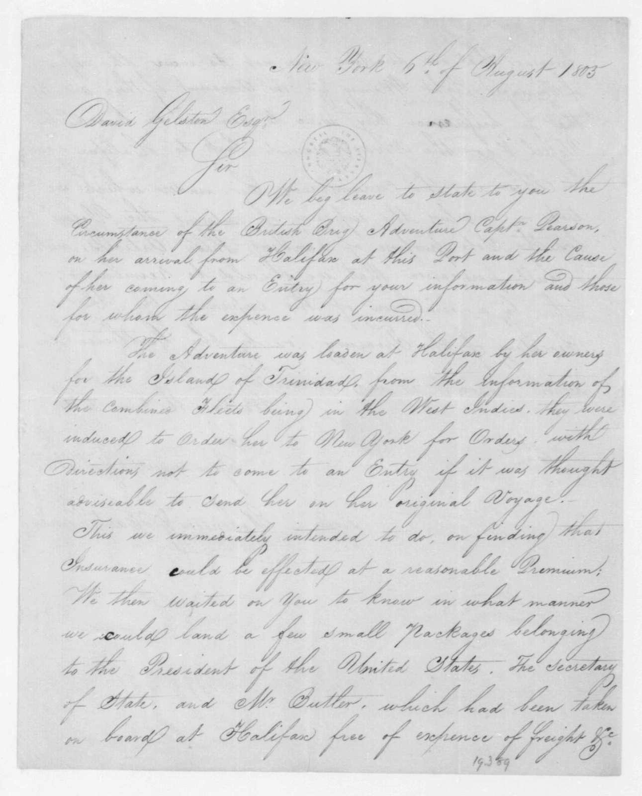 Robinson & Hartshorne to David Gelston, August 6, 1805.