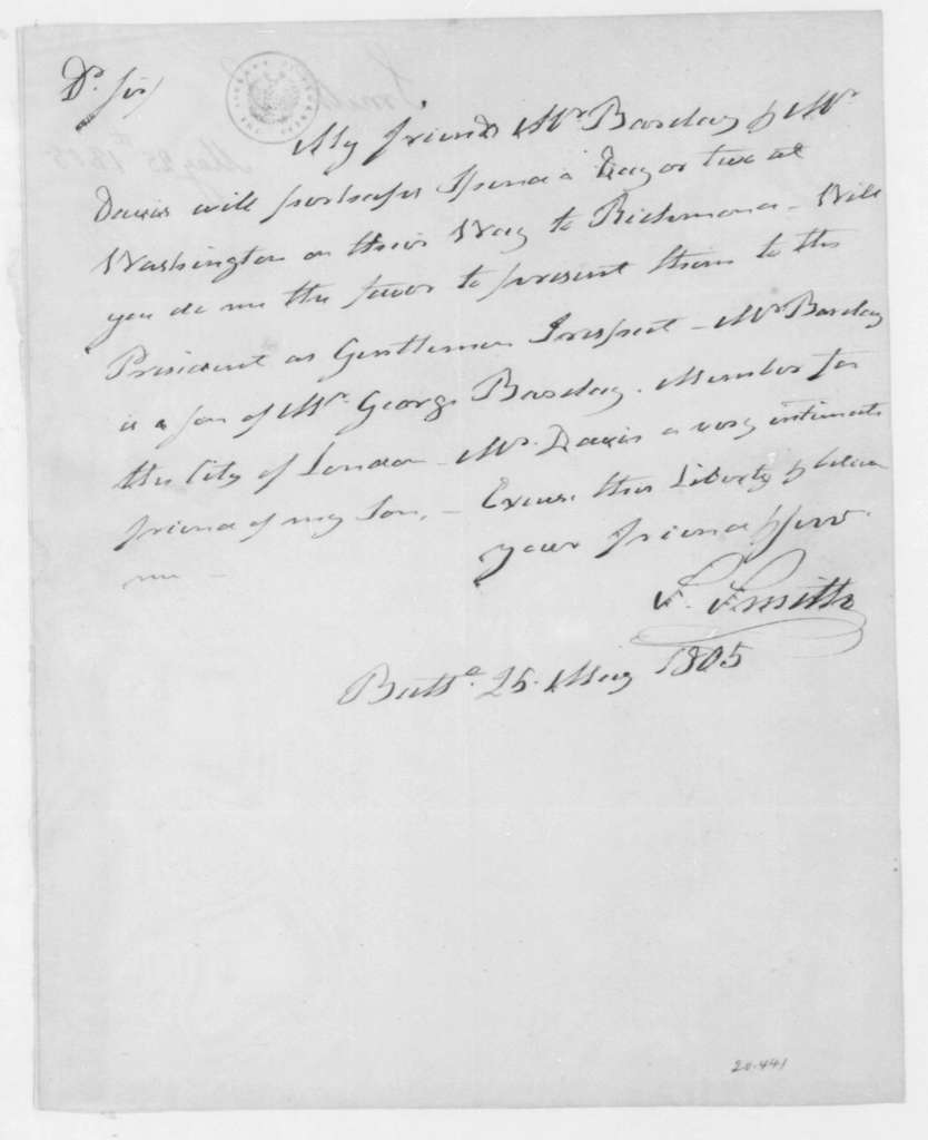 Samuel Smith to James Madison, May 25, 1805.