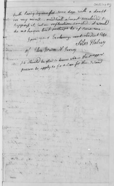Silas Halsey to Thomas Jefferson, September 13, 1805