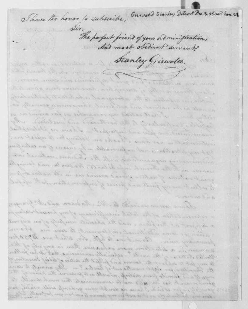 Stanley Griswold to Thomas Jefferson, December 3, 1805