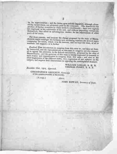 State of Kentucky. Frankfort. Jan. 2, 1805. Sir [His Excellency the Governor of New York] By direction of the legislature of this state, I have the honor to inclose to your excellency two resolutions of the 27th of November and the 17th of Decem