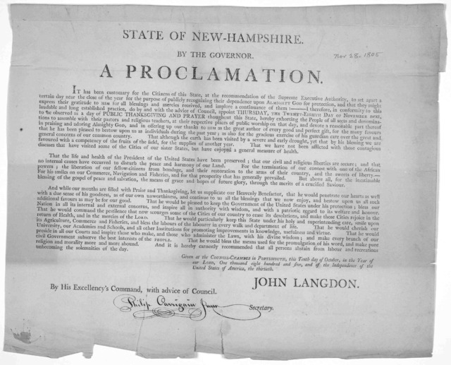 State of New Hampshire. By the Governor. A proclamation. It has been customary for the citizens of this state, at the recommendation of the supreme executive authority, to set apart a certain day near the close of the year for the purpose of pub