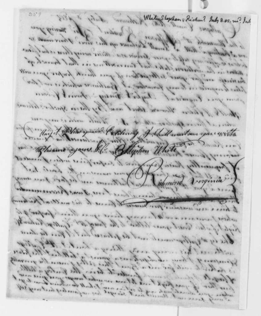 Stephen Hite to Thomas Jefferson, July 8, 1805