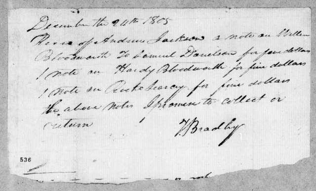 T. Bradley to Andrew Jackson, December 24, 1805