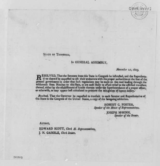 Tennessee General Assembly, November 1, 1805, Printed Resolution