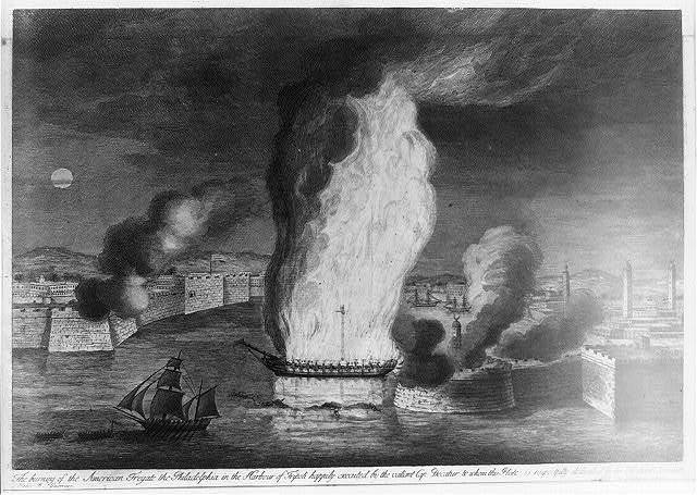 The Burning of the fregate the Philadelphia in the harbor of Tripoli ...