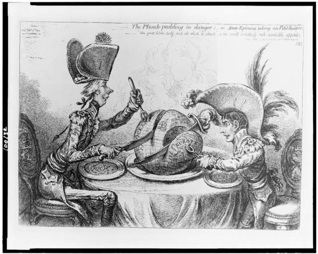 The Plumb-pudding in danger, or, State epicures taking un petit souper ... / Js. Gillray, inv. & fecit.