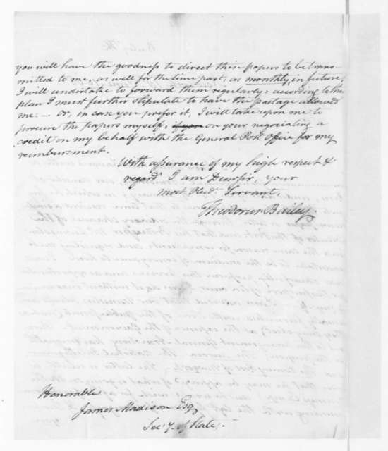 Theodorus Bailey to James Madison, June 18, 1805.