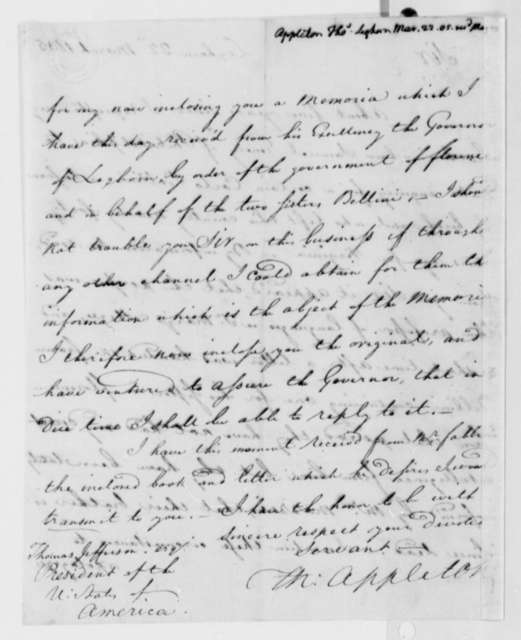 Thomas Appleton to Thomas Jefferson, March 22, 1805