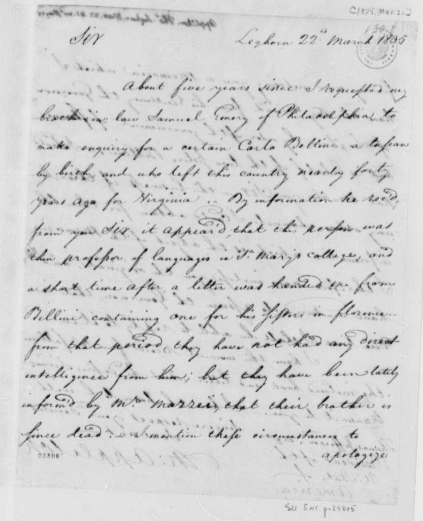 Thomas Appleton to Thomas Jefferson, March 22, 1805