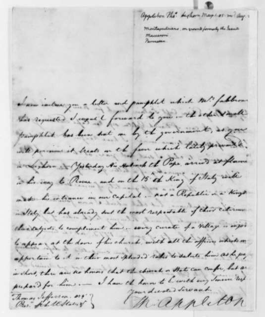Thomas Appleton to Thomas Jefferson, May 1, 1805