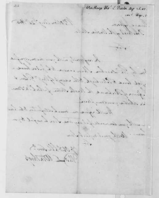 Thomas I. Winthrop to Thomas Jefferson, August 26, 1805