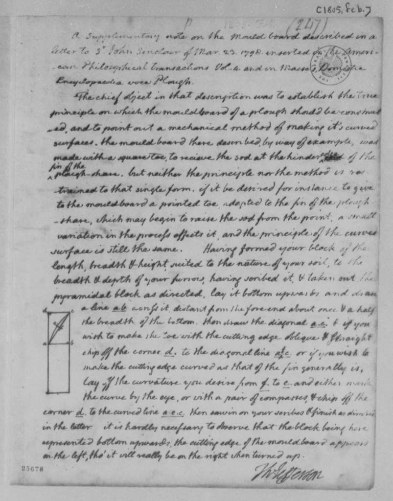 Thomas Jefferson, February 1805, Note on Mouldboard Plow, with Drawing