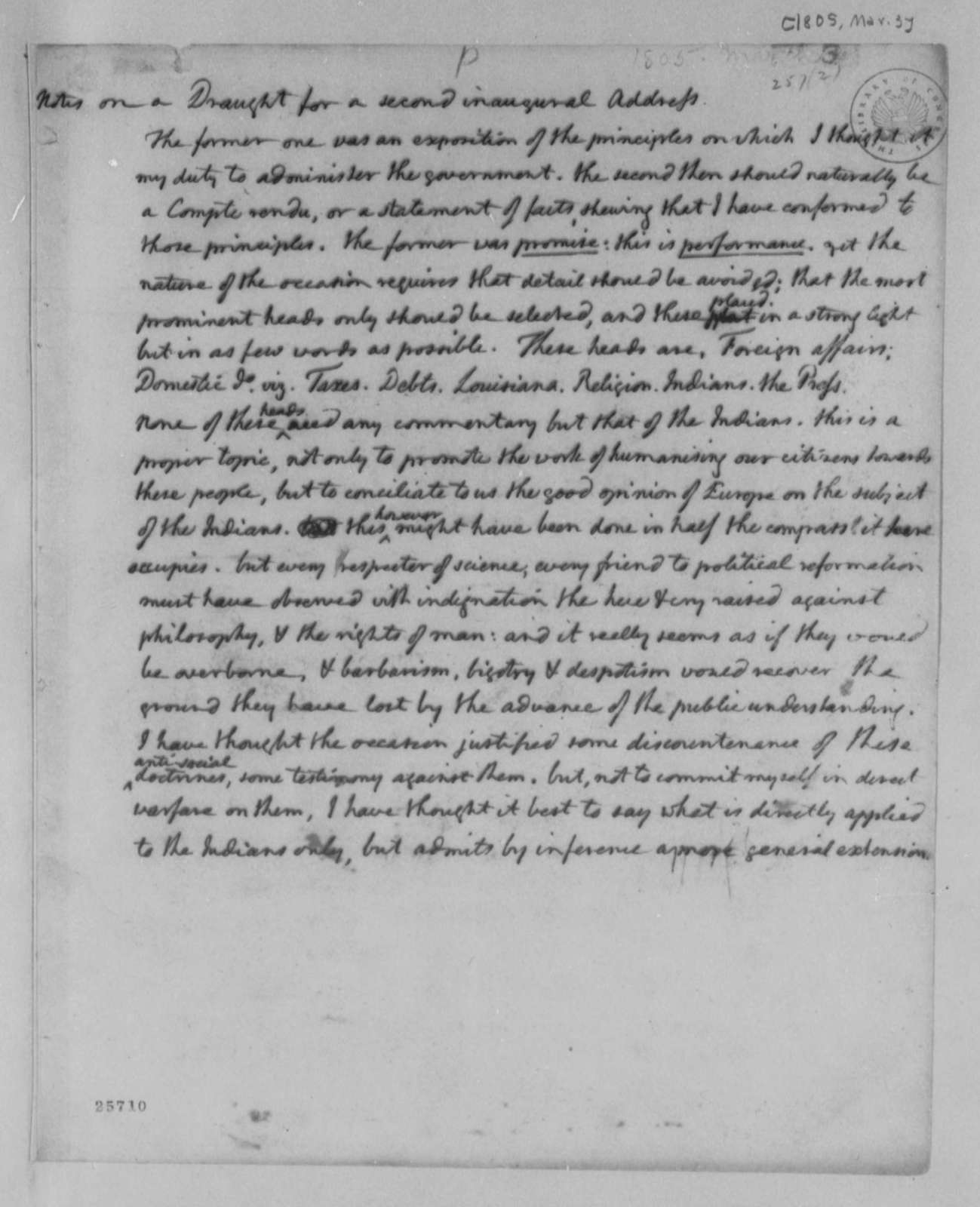 Thomas Jefferson, March 3, 1805, Notes on Second Inaugural