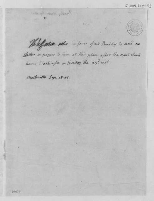 Thomas Jefferson to Abraham Bradley, September 18, 1805