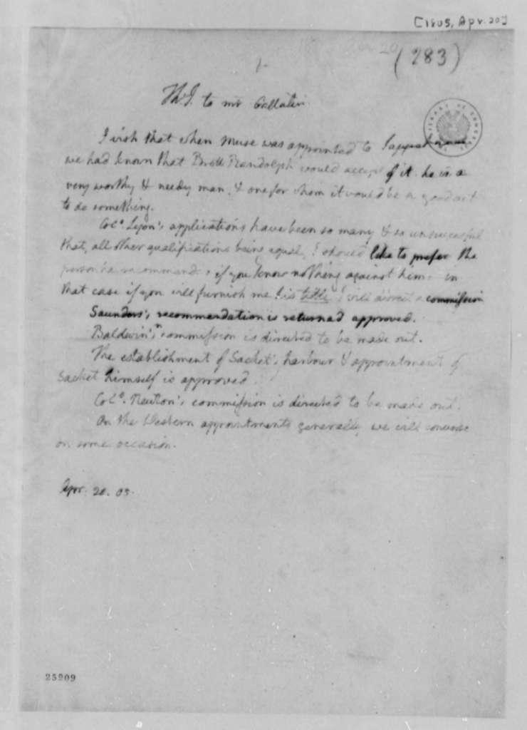 Thomas Jefferson to Albert Gallatin, April 20, 1805