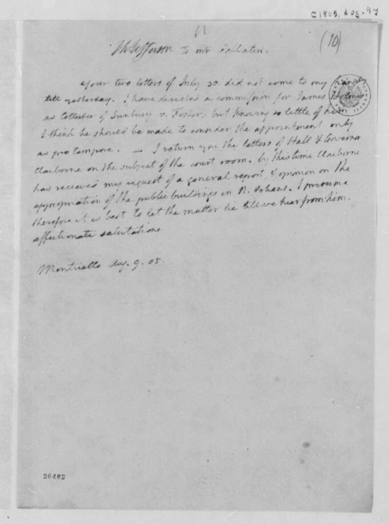 Thomas Jefferson to Albert Gallatin, August 9, 1805