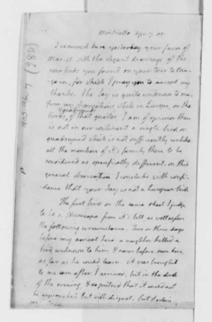 Thomas Jefferson to Alexander Wilson, April 7, 1805