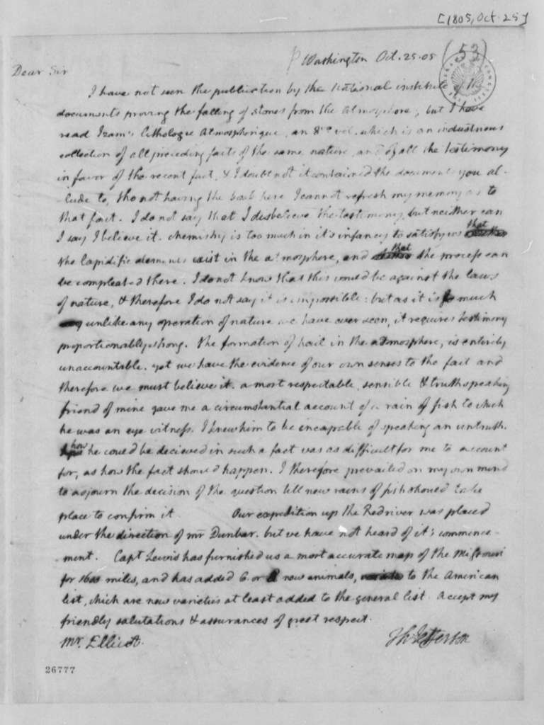 Thomas Jefferson to Andrew Ellicott, October 25, 1805
