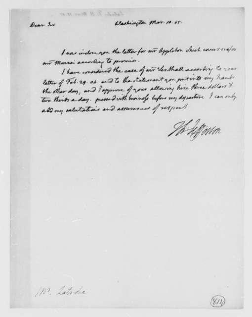 Thomas Jefferson to Benjamin H. Latrobe, Surveyor of the Public Buildings, March 10, 1805