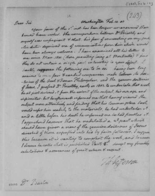 Thomas Jefferson to Benjamin Smith Barton, February 14, 1805
