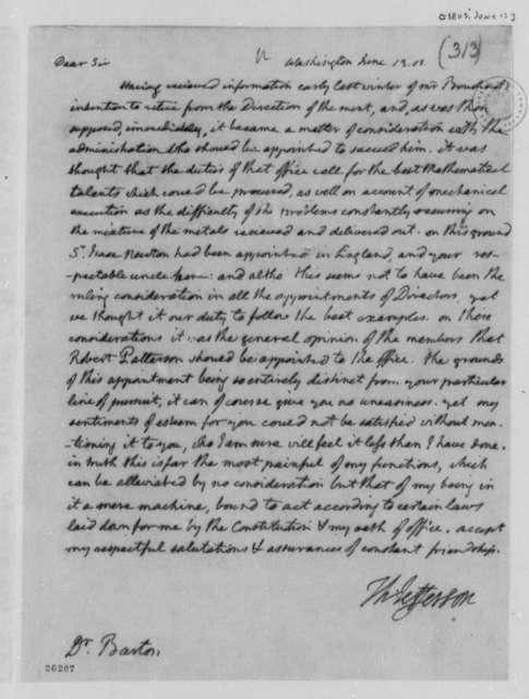 Thomas Jefferson to Benjamin Smith Barton, June 13, 1805